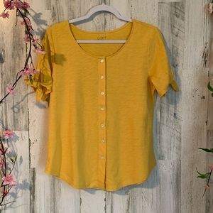 NWT Ann Taylor Yellow Button Front Blouse